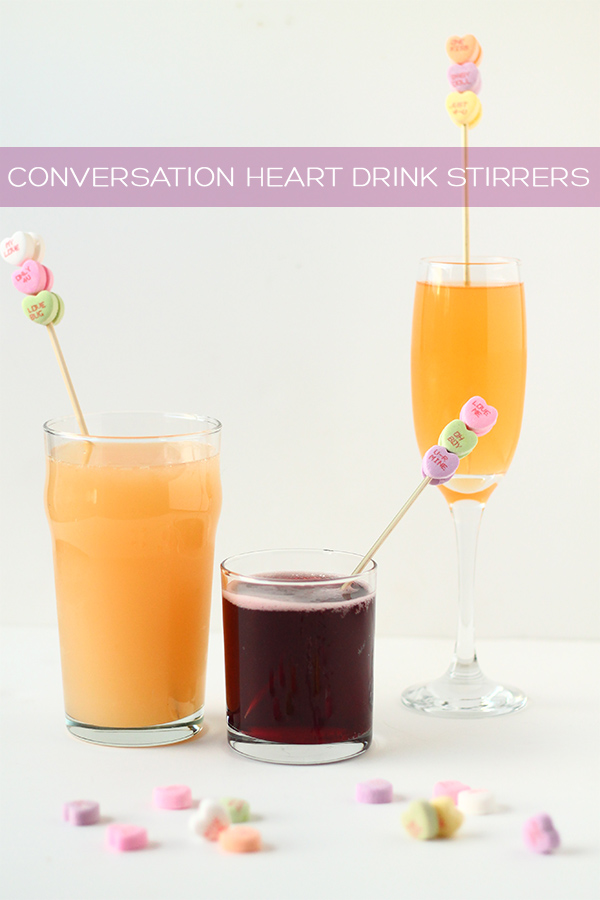 DIY conversation heart drink stirrers | Squirrelly Minds