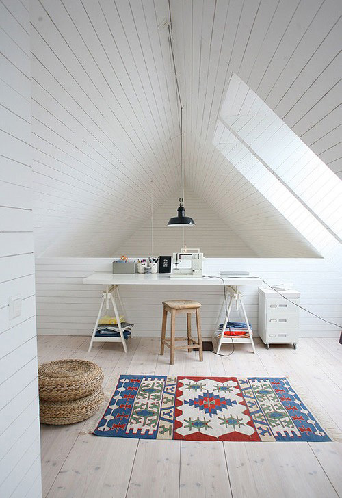 Pinned Via on Squirrelly Minds | Attic Office from vtwonen
