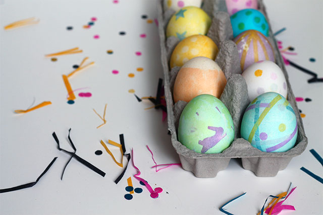 Tissue Paper Dyed Easter Eggs from Squirrelly Minds