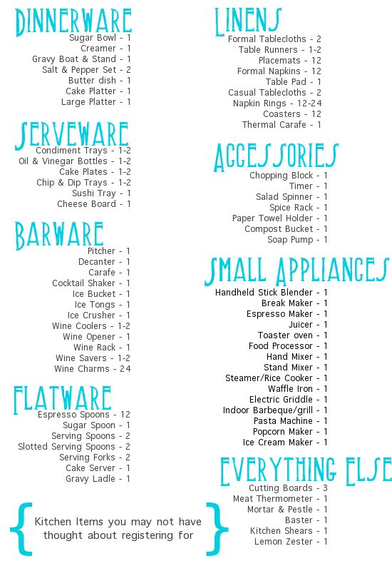 Wedding Gift List Printable : ... our eye on for the home that you can put on your registry checklist