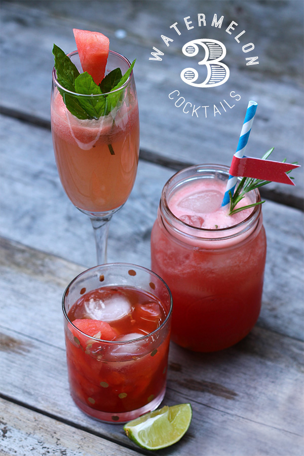 3 Watermelon Cocktails on Squirrelly Minds