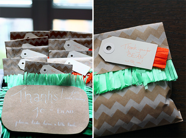 Mint, Orange and Grey Baby Shower on Squirrelly Minds