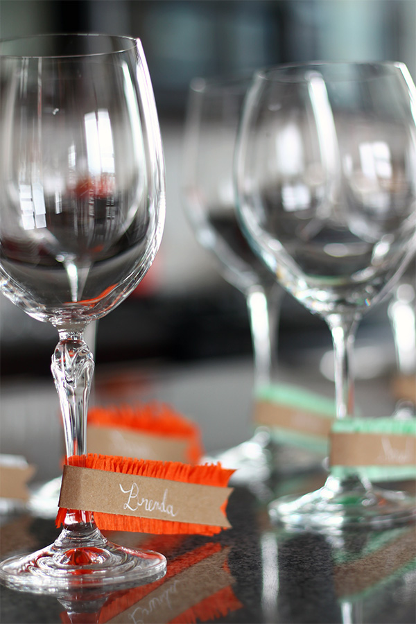 DIY Fringe Wine Glass Name Tags on Squirrelly Minds