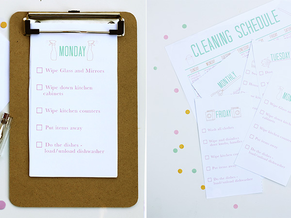Printable Cleaning Schedule from Squirrelly Minds