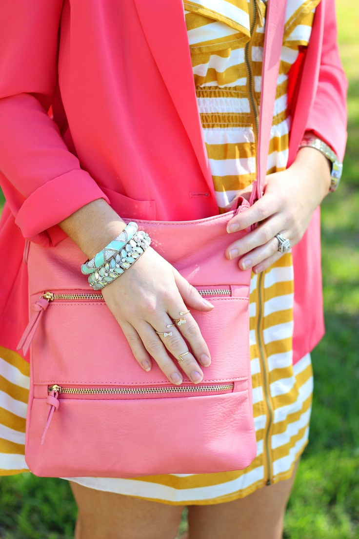 Pinned Via June Edition on Squirrelly Minds | Mint, Coral, Mustard Stripes from Create That Outfit