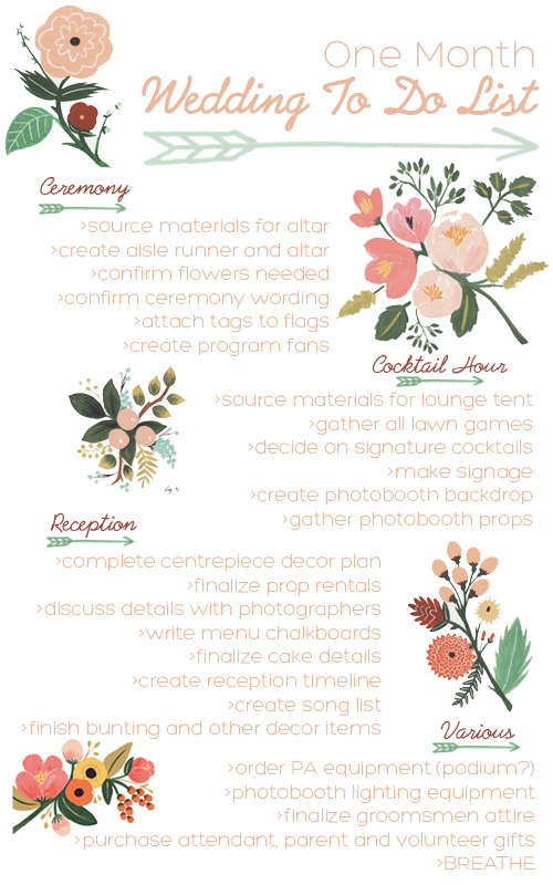 One month countdown squirrelly minds here is my one month diy wedding countdown to do list i hope it also proves helpful to any of you ladies out there in the same boat as me junglespirit Choice Image