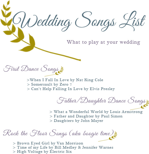 Wedding Songs List