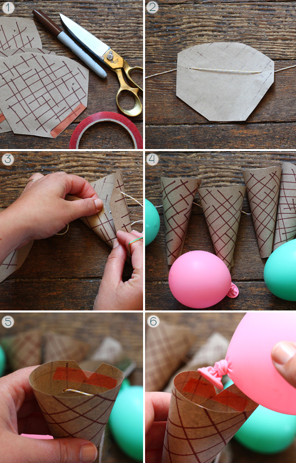 Ice Cream Cone Garland and DIY Printable on Squirrelly Minds