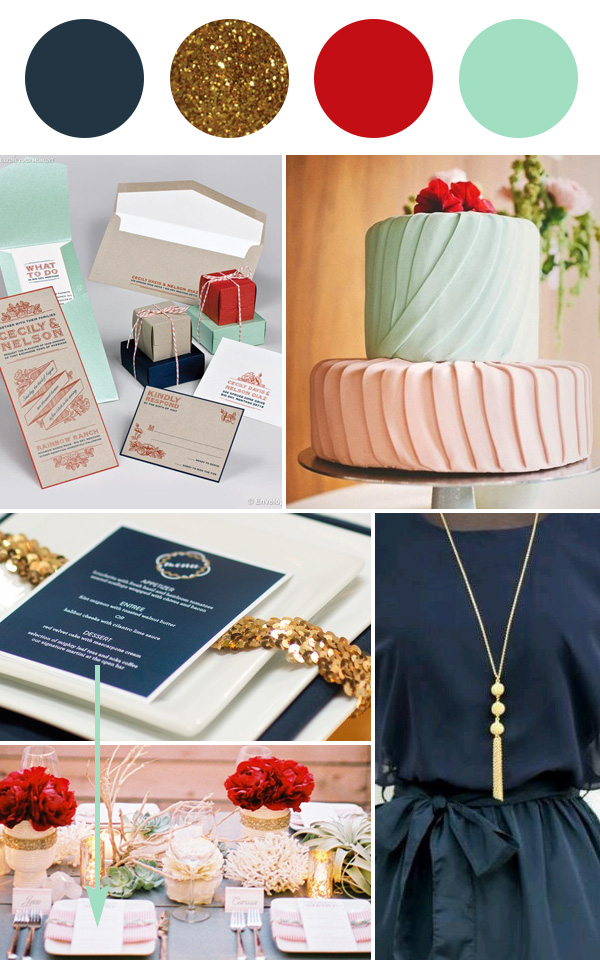 Wedding Colour palette - navy, gold, red, mint on Squirrelly Minds