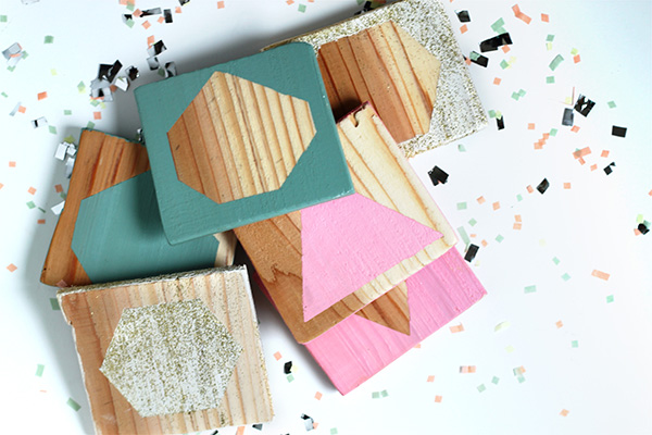 Geometric Cedar Plank Coasters on Squirrelly Minds