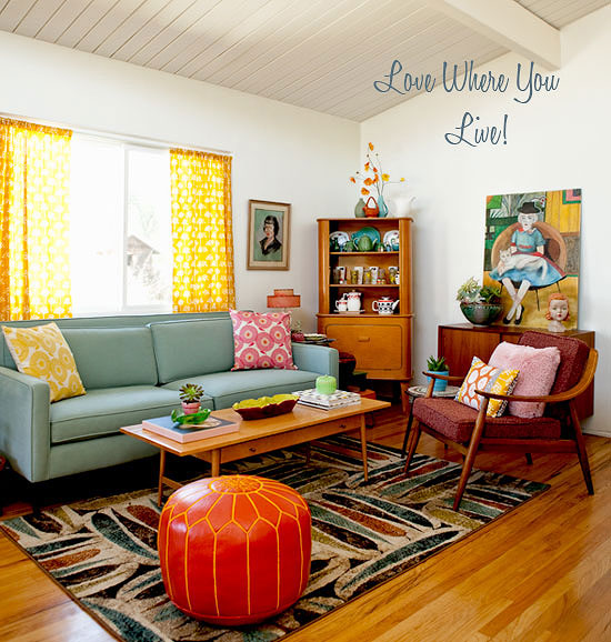 Home the bungalow inspiration files mid century mod for Vintage style living room ideas