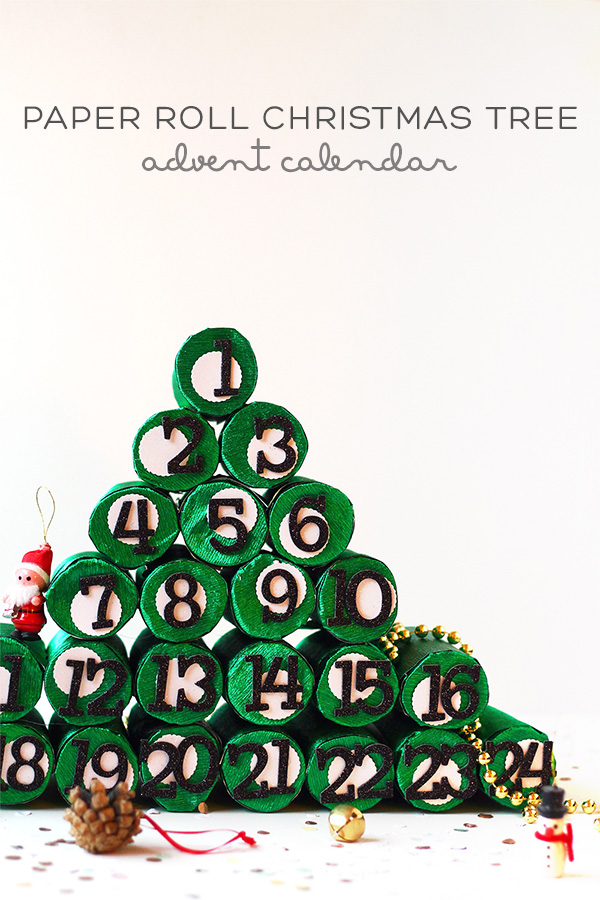 DIY Christmas Tree Advent Calendar from paper rolls by Squirrelly Minds