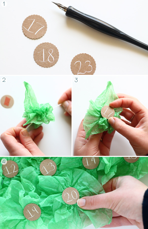 DIY Mandarin Orange Wrapper Christmas Tree Advent Calendar on Squirrelly Minds