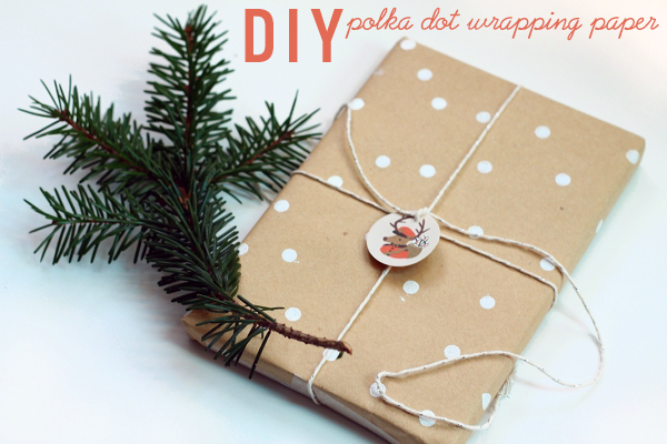 DIY polka dot wrapping paper from Squirrelly Minds