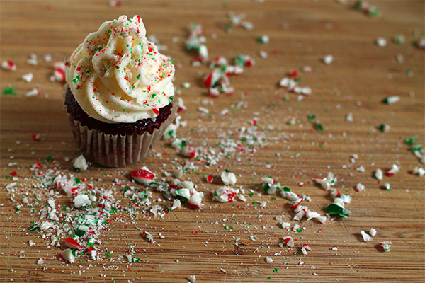 Vegan Red Velvet Candy Cane Cupcake from Squirrelly Minds