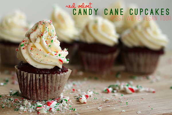 Vegan Red Velvet Candy Cane Cupcakes from Squirrelly Minds