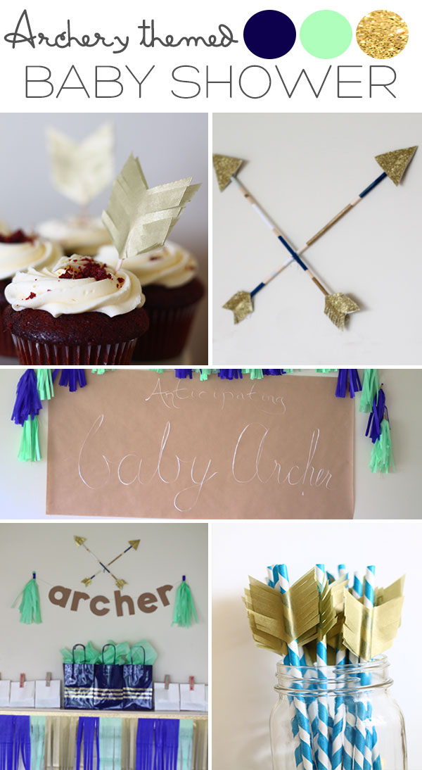 Archery Themed Baby Shower in Navy, Mint and Gold | Squirrelly Minds