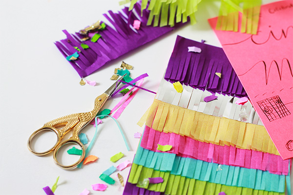 Pinata Fringe Cinco de Mayo Invitations | Squirrelly Minds