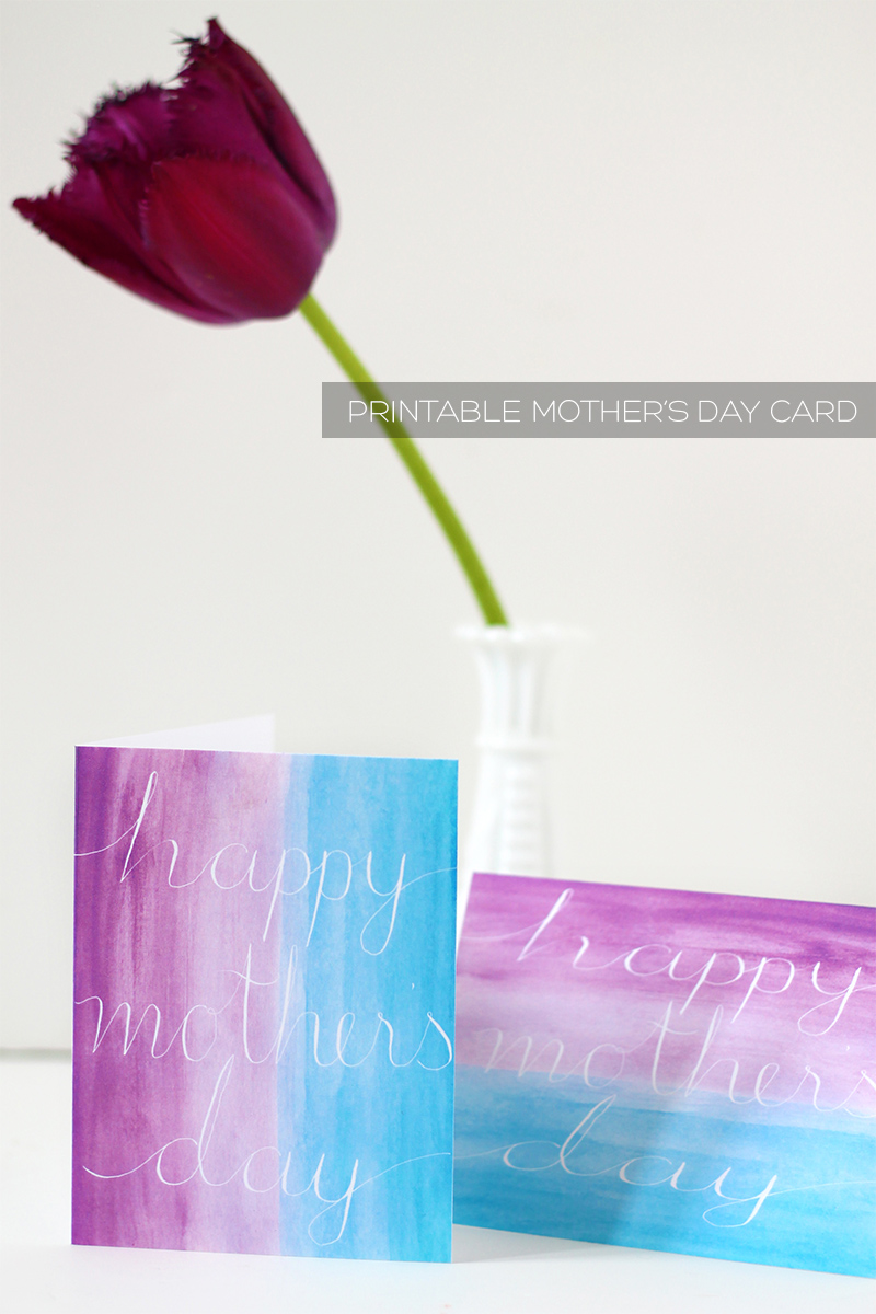 Watercolour and aalligraphy free printable mother's day card | Squirrelly Minds