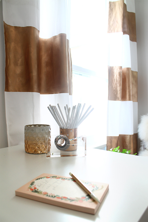 DIY Gold Painted Curtains | Squirrelly Minds