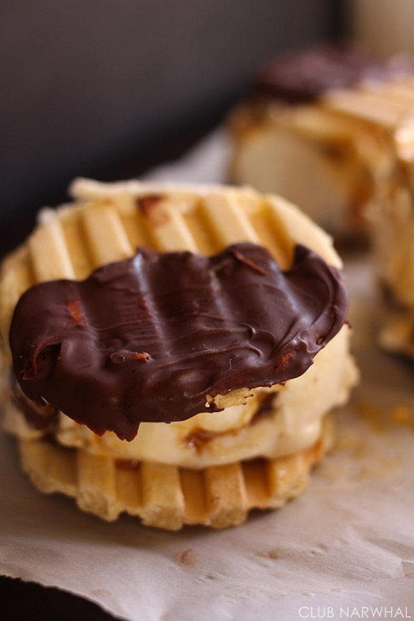 Dulce de Leche Ice Cream Waffle Sandwiches by Amy of Club Narwhal | Squirrelly Minds