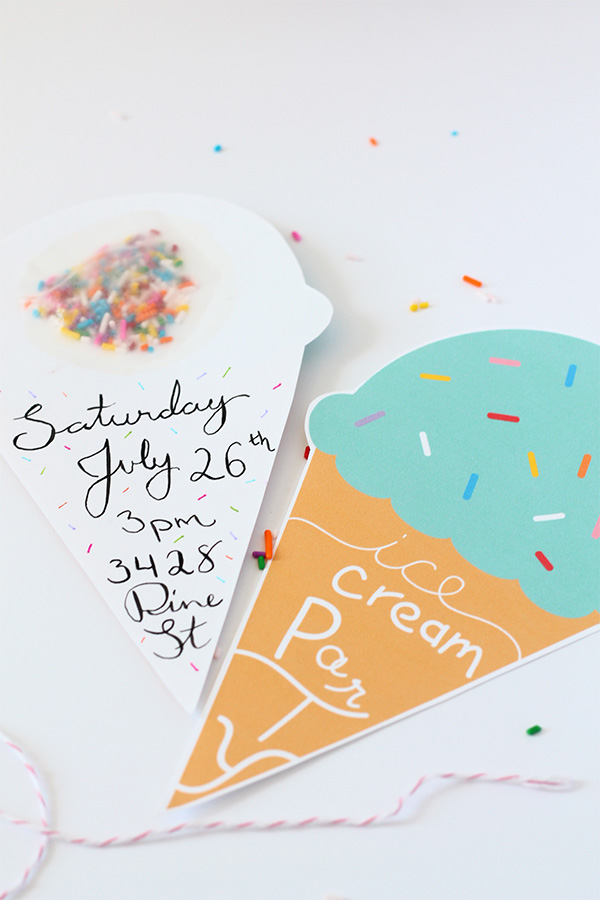 PrintDIY – Ice Cream Party Invitation