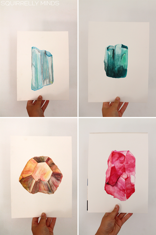 Win an original gemstone watercolour painting | Squirrelly Minds