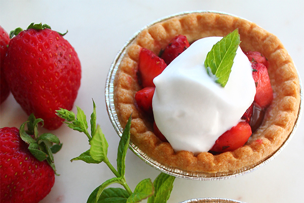 Strawberry Mint Tarts with Nutella and Coconut Whipped Cream