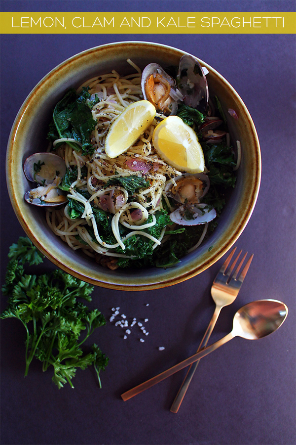 Lemon Clam Kale Spaghetti | Squirrelly Minds