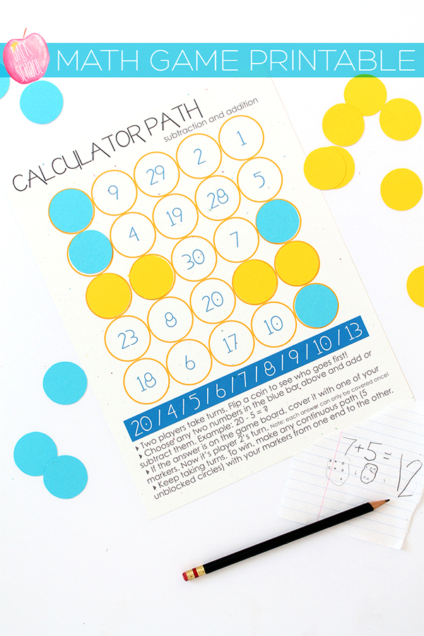 Print | Back to School Series and a Free Math Game Printable ...