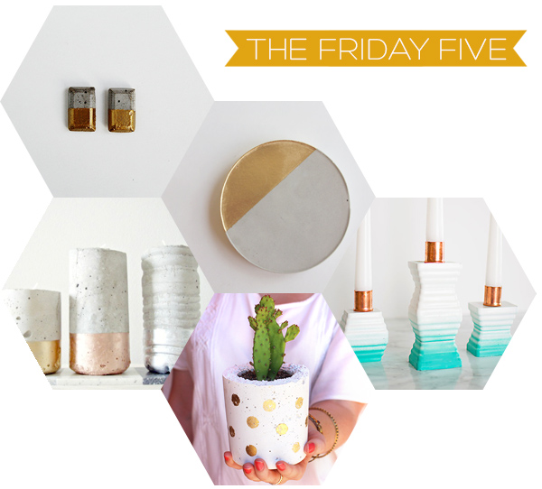 The Friday Five - Top 5 Concrete & Metallic DIY's | Squirrelly Minds