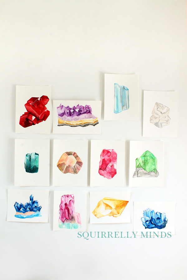 Studio Update 4 - all 12 watercolour birthstone paintings   Squirrelly Minds