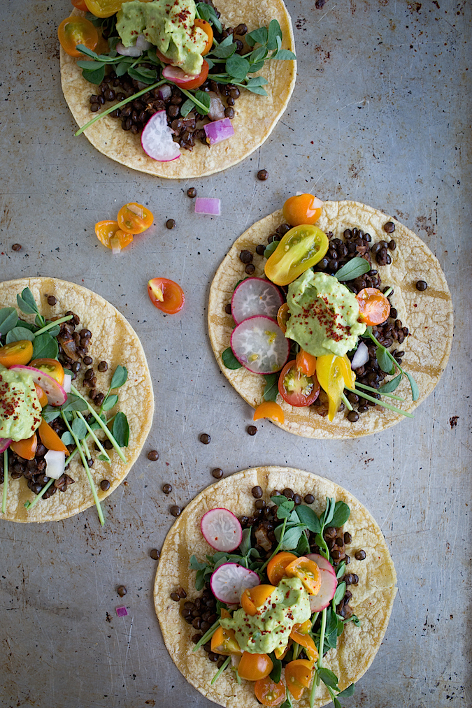 #pinmakeeat 8 | Squirrelly Minds - Lentil Tacos with Tomato Radish Salsa from Chez Us