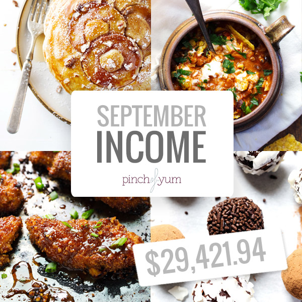 Monthly Income Reports from Pinch of Yum