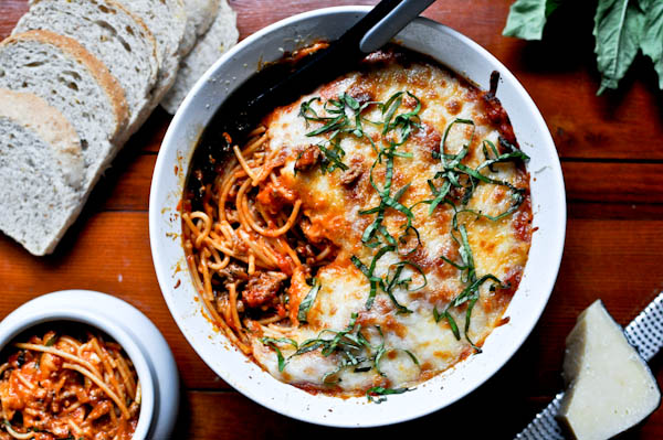 #pinmakeeat 9 | Squirrelly Minds - Baked Parmesan Spaghetti from How Sweet It Is