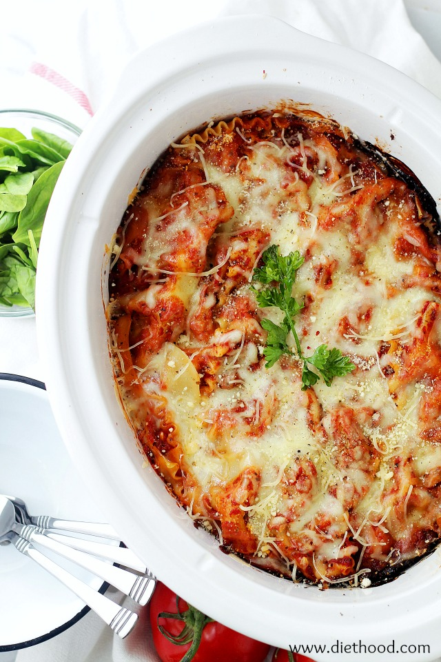#pinmakeeat 9 | Squirrelly Minds - Spinach and Feta Crock Pot Lasagna from Diet Hood