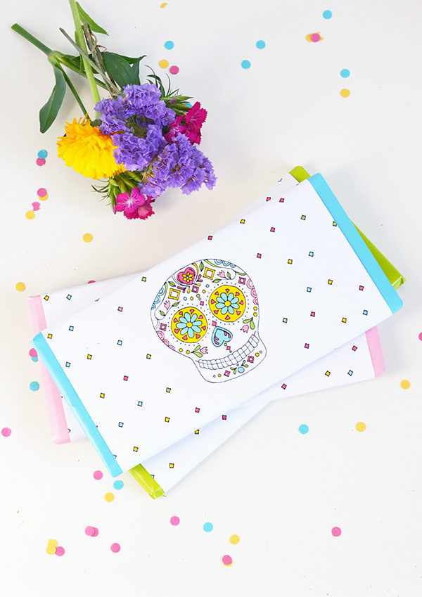 Last Minute Halloween Ideas - Printable Sugar Skull Chocolate Wrappers from Make and Tell | Squirrelly Minds