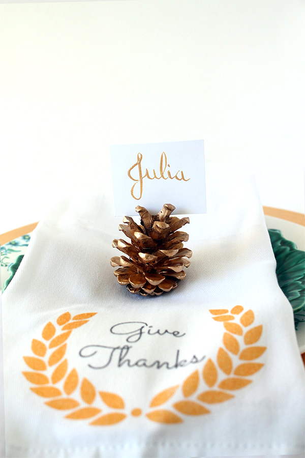 Gold Pine Cone Place Cards DIY | Squirrelly Minds