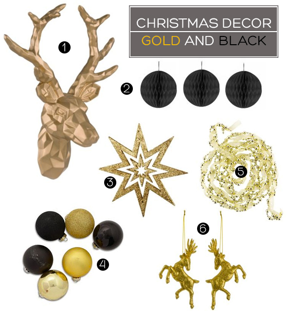 Gold and Black Christmas Decorations | Squirrelly Minds