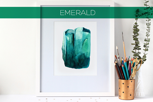 Watercolour Gemstone Prints now in the Shop | Squirrelly Minds