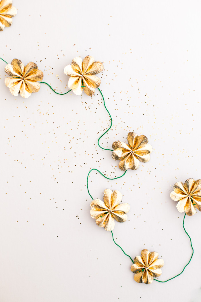 Top 10 St. Patrick's DIY's of 2015 - Gold four leaf clover garland from Flax and Twine