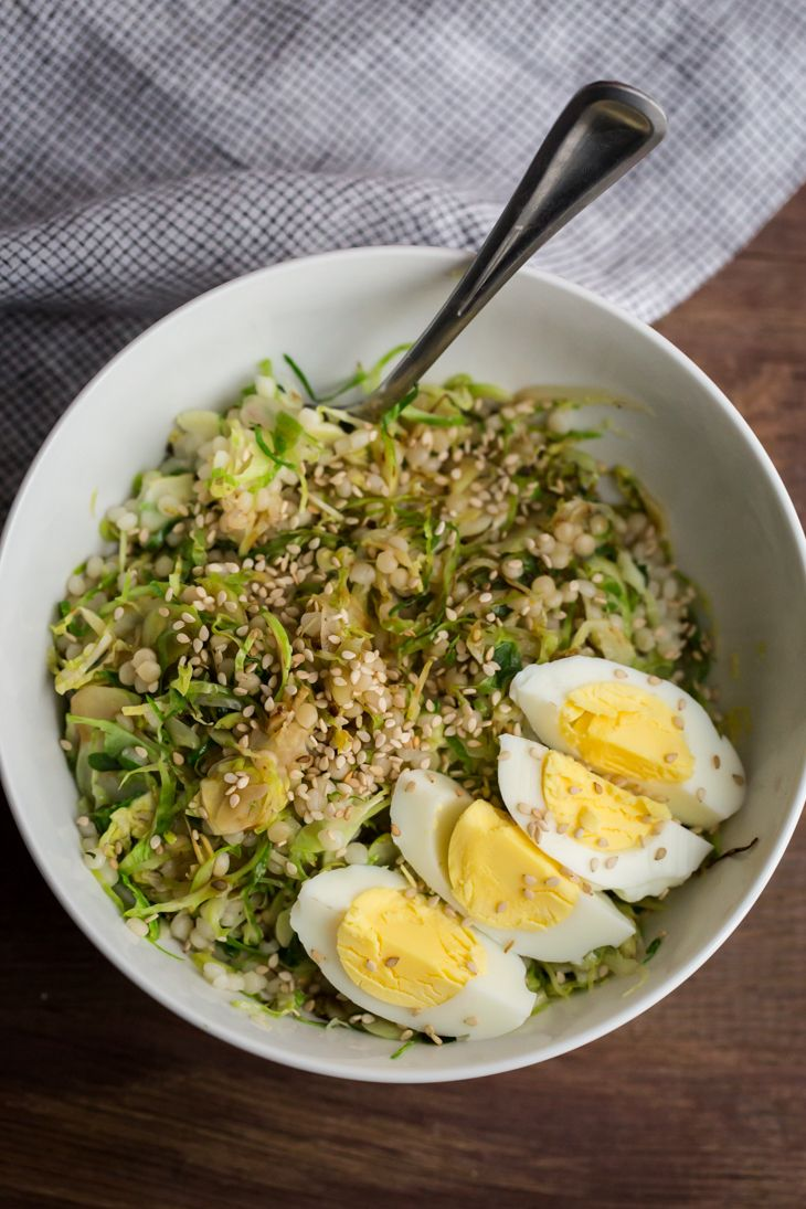 #PinMakeEat12 - Hard Boiled Egg and Brussels Sprouts Bowl from Naturally Ella | Squirrelly Minds