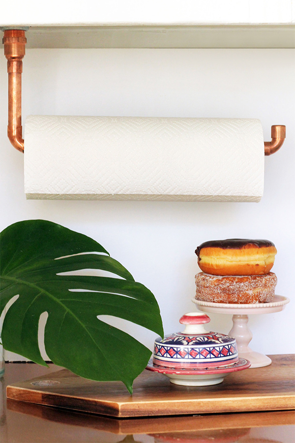 Suspended Copper Pipe Paper Towel Holder | Squirrelly Minds