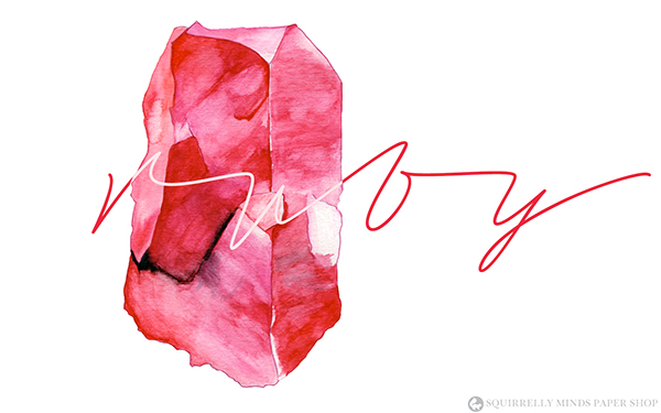 Free Watercolour Ruby Desktop Wallpaper | Squirrelly Minds