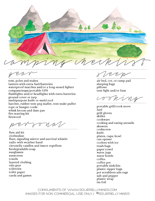 Print | Printable Camping Checklist - Squirrelly Mindscamping