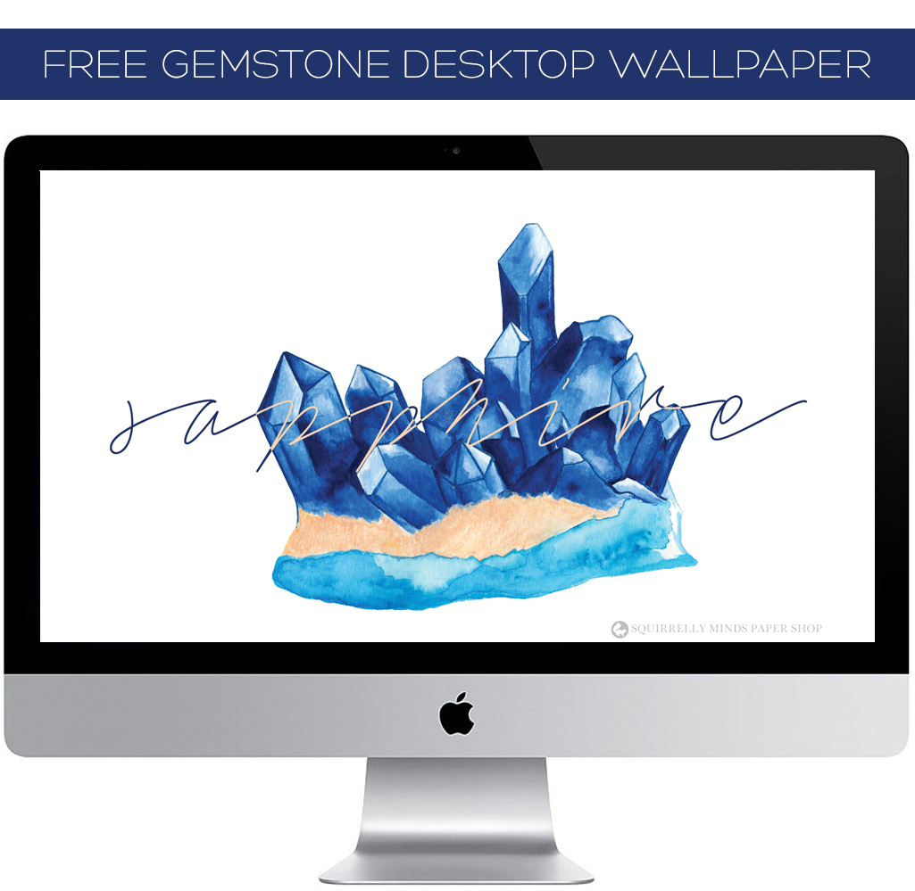Free Watercolour Sapphire Desktop Wallpaper | Squirrelly Minds