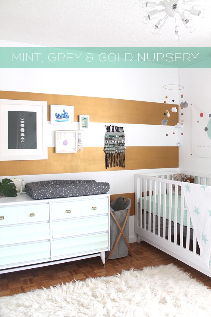 Mint, Gold, and Grey Nursery | Squirrelly Minds
