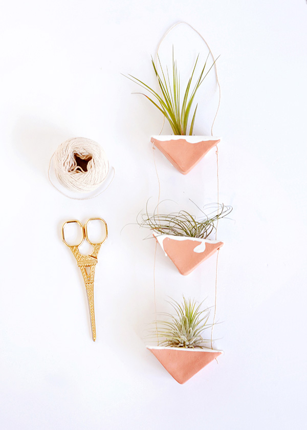 DIY clay hanging air plant holders