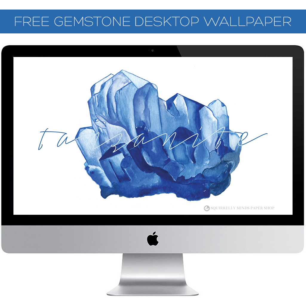 Free Watercolour Tanzanite Desktop Wallpaper | Squirrelly Minds