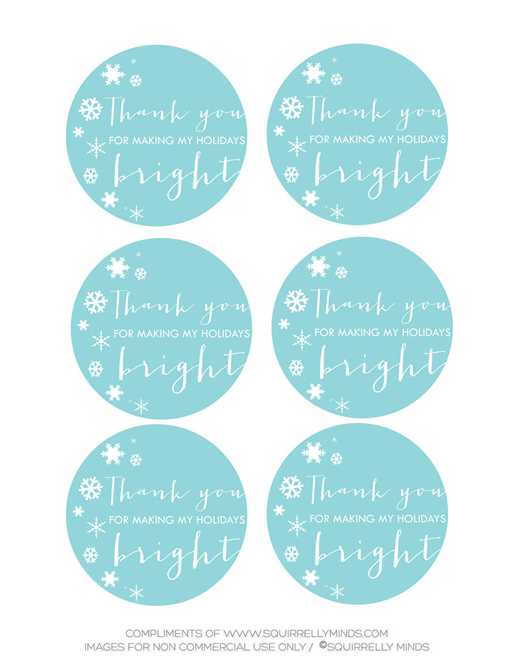 Printable Holiday Thank you Labels | Squirrelly Minds